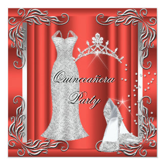 """Red Rust Silver Quinceanera High Heel Shoes 5.25"""" Square Invitation Card"""