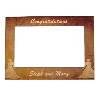 Red Rustic Lesbian Wedding Gift Frame Magnetic Picture Frames