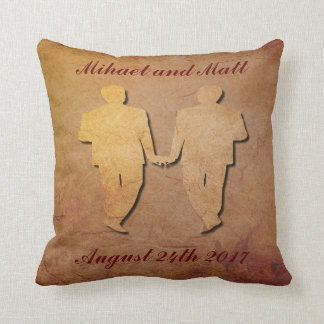 Red Rustic Pillow Gay Wedding Gift for Grooms
