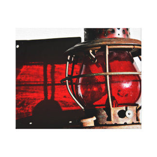Red Rusty Antique Railroad Lantern Canvas Print