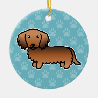 Red Sable Long Coat Dachshund Cartoon Dog Round Ceramic Decoration