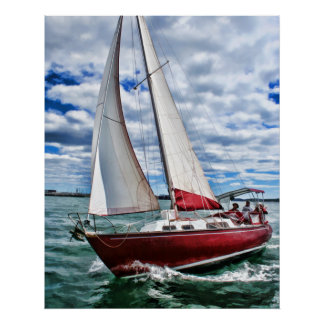 Red Sailboat, Blue Sky, Green Sea Poster