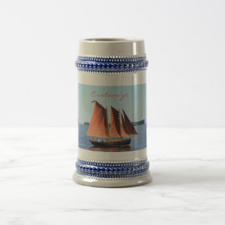 red sailed schooner beer stein