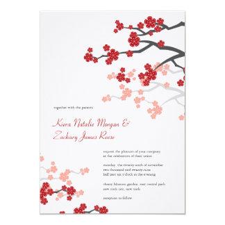 Red Sakura Cherry Blossoms Asian Wedding Invite
