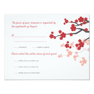 Red Sakura Cherry Blossoms Asian Wedding RSVP Card 11 Cm X 14 Cm Invitation Card