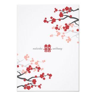 Red Sakura Cherry Blossoms Flowers Chinese Wedding 5x7 Paper Invitation Card