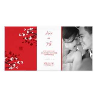Red Sakura Double Happiness Wedding Announcement Photo Greeting Card