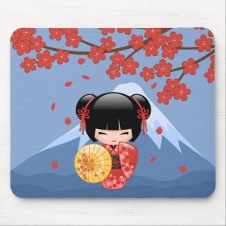 Red Sakura Kokeshi Doll - Cute Geisha Girl Mouse Pad