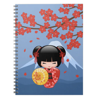 Red Sakura Kokeshi Doll - Cute Geisha Girl Notebook