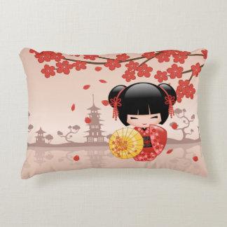 Red Sakura Kokeshi Doll - Japanese Geisha Decorative Cushion