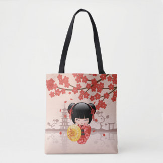 Red Sakura Kokeshi Doll - Japanese Geisha Girl Tote Bag