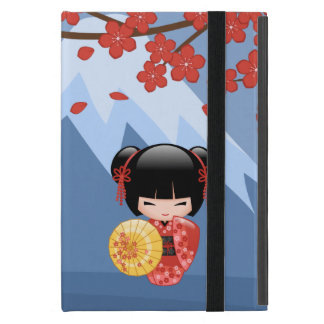 Red Sakura Kokeshi Doll - Japanese Geisha iPad Mini Cover
