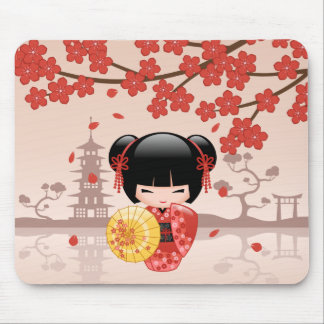 Red Sakura Kokeshi Doll - Japanese Geisha Mouse Pad