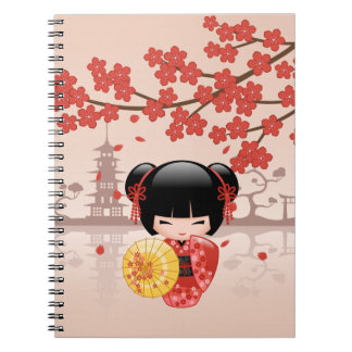 Red Sakura Kokeshi Doll - Japanese Geisha Notebook