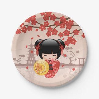 Red Sakura Kokeshi Doll - Japanese Geisha Paper Plate