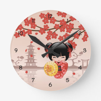 Red Sakura Kokeshi Doll - Japanese Geisha Wall Clocks