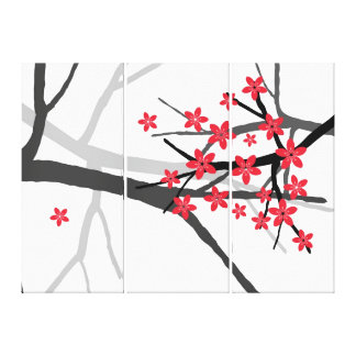 Red Sakura  Wrapped Canvas