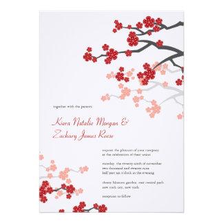 Red Sakuras Cherry Blossoms Spring Wedding Invite Personalized Invites
