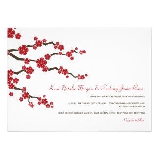 Red Sakuras Cherry Blossoms Spring Wedding Invite Invitation