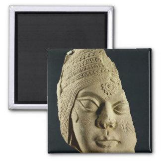 Red sandstone head of Yakshi, Bharhut, 2nd century Square Magnet