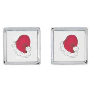 Red Santa Claus Hat Merry Christmas Xmas Holiday Silver Finish Cufflinks