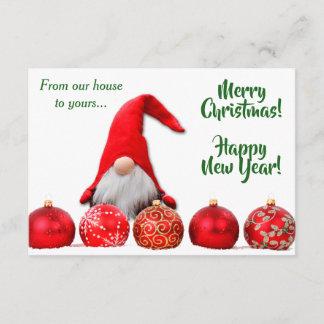 Red Santa Gnome Christmas Flat Card