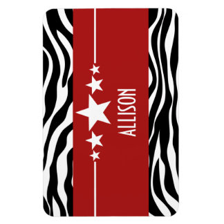 Red Sassy Star Zebra Premium Magnet