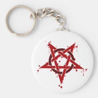 Red Satanic Spotted Pentagram Key Ring