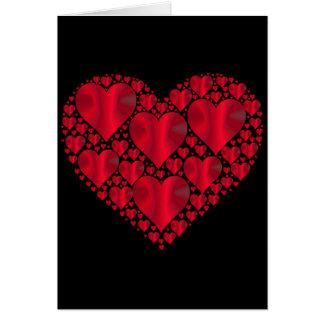 Red Satin Hearts, Black Valentine Card