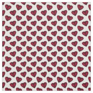 Red Satin Hearts Valentine Fabric