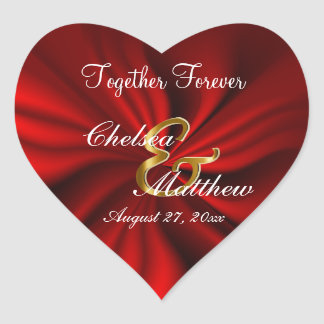 Red Satin Wedding    Personalize Heart Sticker