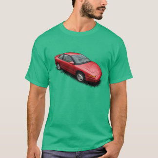 Red Saturn SC2 car on Green T-Shirt