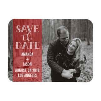 Red Save The Date  Banner Overlay Photo Magnet