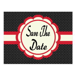 Red Save The Date Black & White Polka Dot Postcard