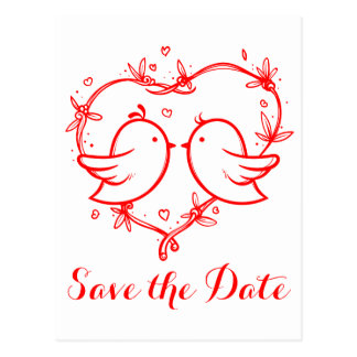Red Save The Date Lovebirds & Hearts Wedding Postcard