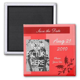 Red Save the Date Magnet