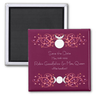 Red Save the Date Magnet Wiccan God & Goddess