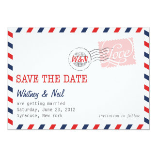 Red Save the Date Postal Service Collection Card
