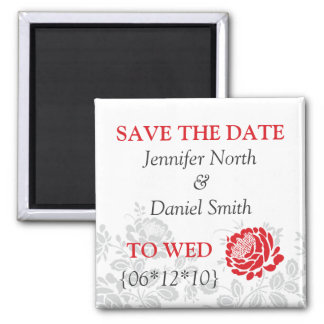 Red Save The Dates Square Magnet