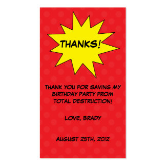 Red Save the Day Superhero Birthday Favor Tags Business Cards
