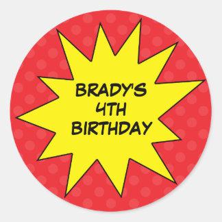 Red Save the Day Superhero Custom Round Birthday Round Sticker