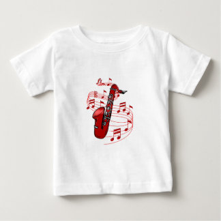 Red Sax With Music Notes Baby T-Shirt