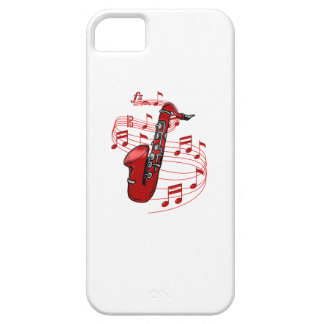 Red Sax With Music Notes Case For The iPhone 5