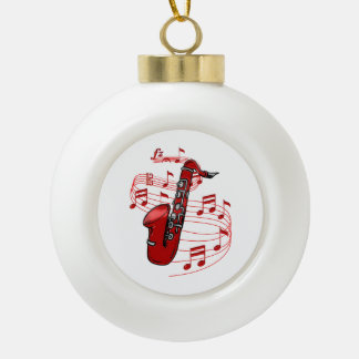 Red Sax With Music Notes Ceramic Ball Christmas Ornament