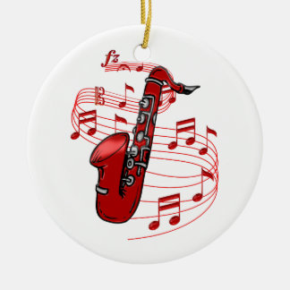 Red Sax With Music Notes Ceramic Ornament