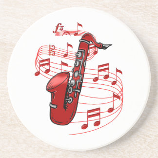 Red Sax With Music Notes Coaster