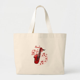 Red Sax With Music Notes Large Tote Bag