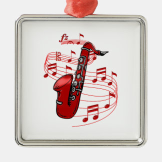 Red Sax With Music Notes Metal Ornament