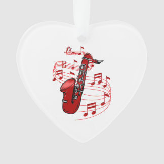 Red Sax With Music Notes Ornament
