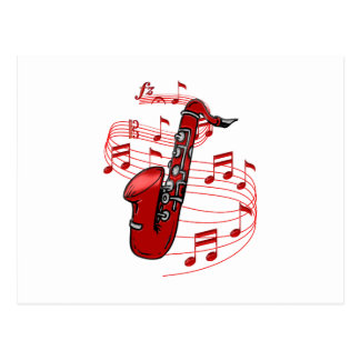 Red Sax With Music Notes Postcard